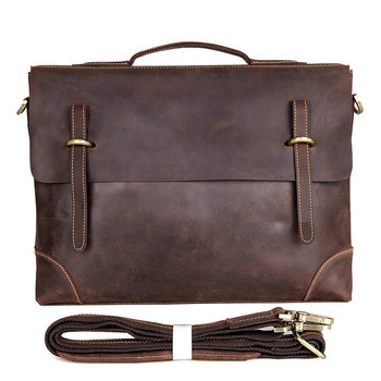 Nesitu Vintage Brown Thick Crazy Horse Genuine Leather Office Men Briefcase 14'' Laptop Portfolios Male Messenger Bags M7228