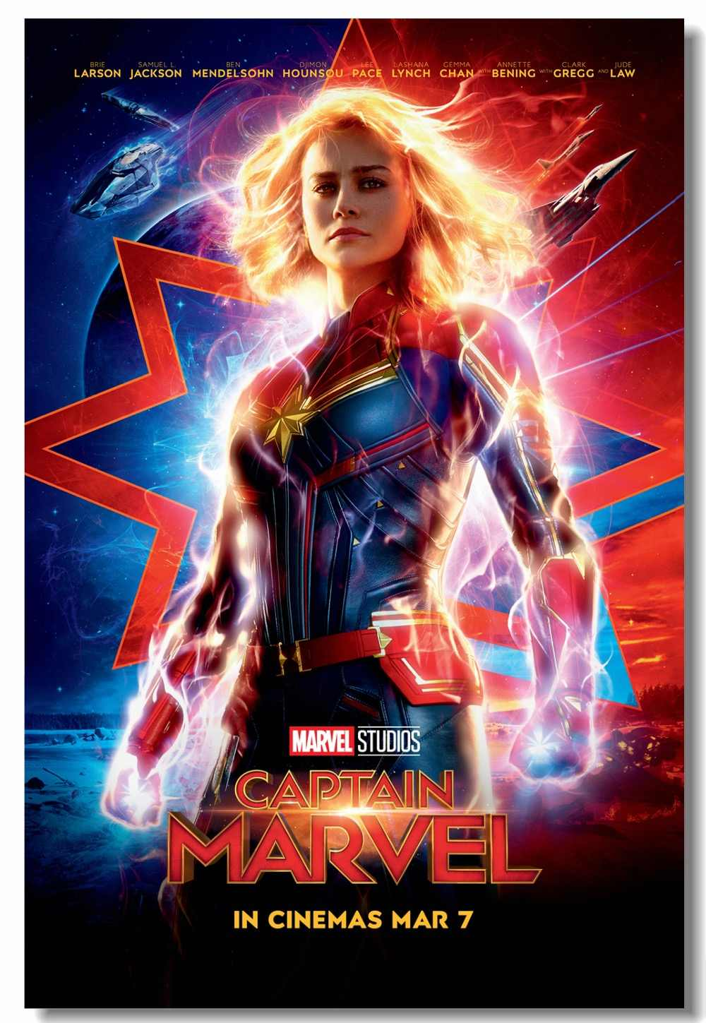 Custom Canvas Wall Decor Captain Marvel Poster Captain Marvel Wallpaper Superheroes Wall Sticker Mural Cafe Office Decals 2888