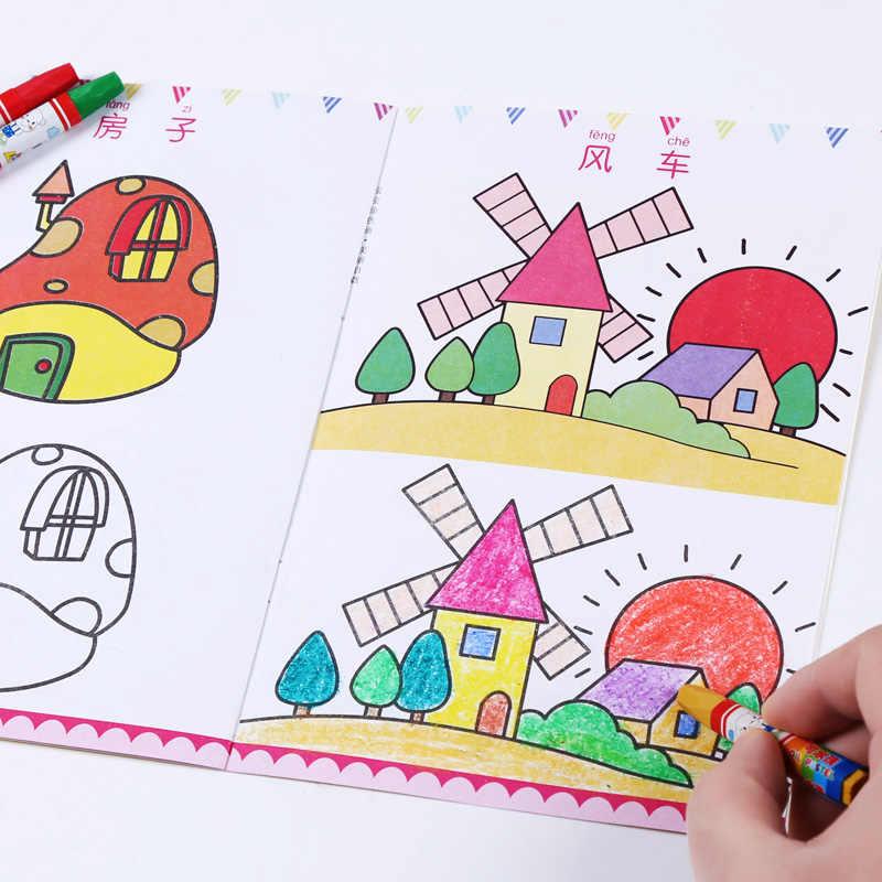 חדש 12 יח'\סט ילדי ילדים חמוד מקל דמות ילדי של ציור ספר ספרי צביעה קל ללמוד ציור ספר libros