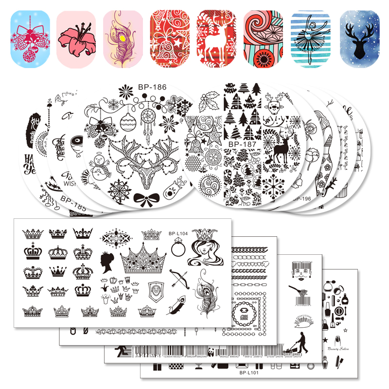 BORN PRETTY Christmas Snowflake Xmas Santa Claus Reindeer Cat Image Nail Art Stamping Plate Template Stamp DIY Printing Transfer