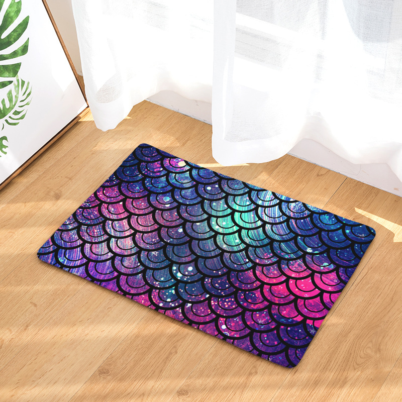 CAMMITEVER Aurora Geometric Stripes Checks Scale Shape Home Decoration Welcome Home Door Floor Mats Waterproof Colored Rugs