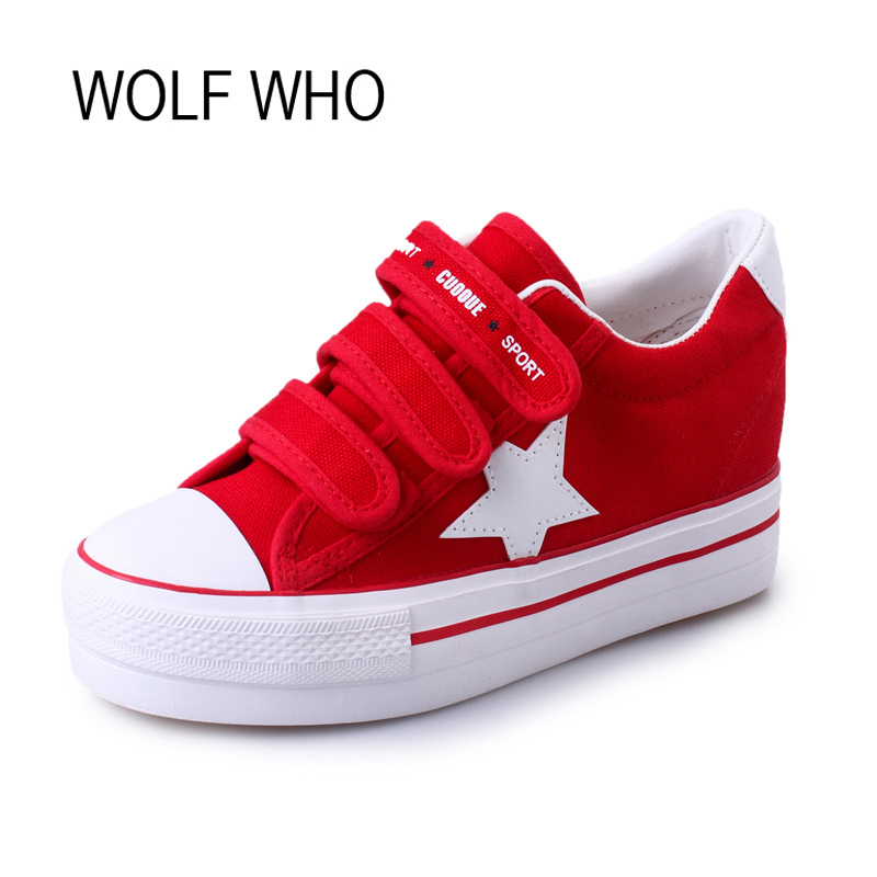 WOLF WHO Canvas Creeper Platform Sneakers Women Shoes Krasovki Ladies Female Footwear Tenis Feminino Casual Basket Femme H-105