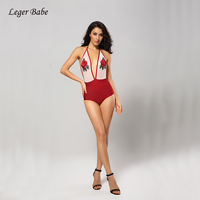 Leger Babe Halter Deep V Neck Rose Embroidery Sexy Backless 2018 Summer Women Swimsuit Bandage Bodysuit Beach Outfits Wholesale