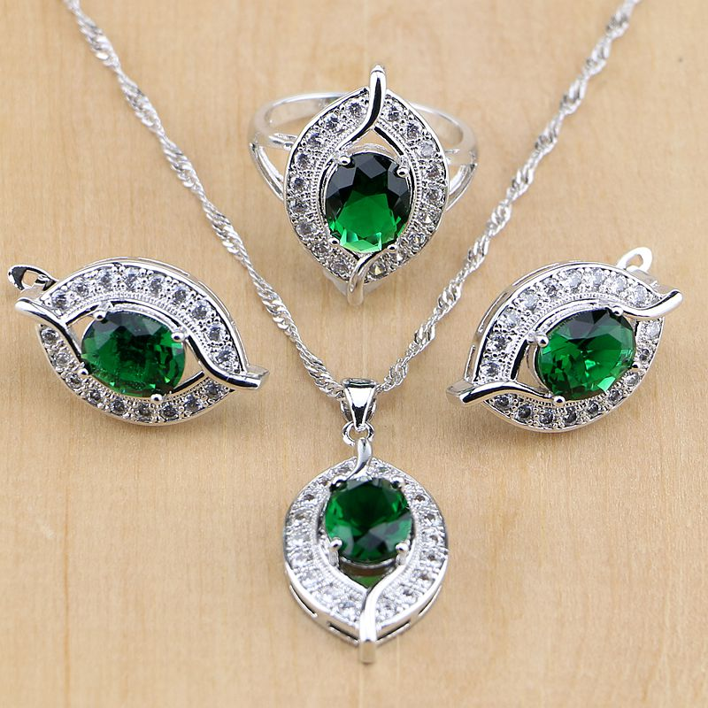 Jewelry & Accessories Wedding & Engagement Jewelry Cheap Sale Green Created Emerald White Zircon 925 Sterling Silver Jewelry Set For Women Wedding Earrings/pendant/necklace/rings T029 Orders Are Welcome.