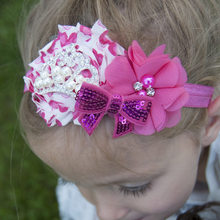1PCS Heart Print Flower Band Embroidery Sequin Bowknot Headband Fashion Hair Accessories Headwear Products(China)