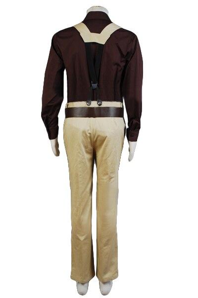 Высокое качество Malcolm Reynolds косплей костюм Взрослый коричневый плащ + рубашка + брюки + ремень + подтяжки ПОЛНЫЙ КОМПЛЕКТ Хэллоуин карнавал - 5