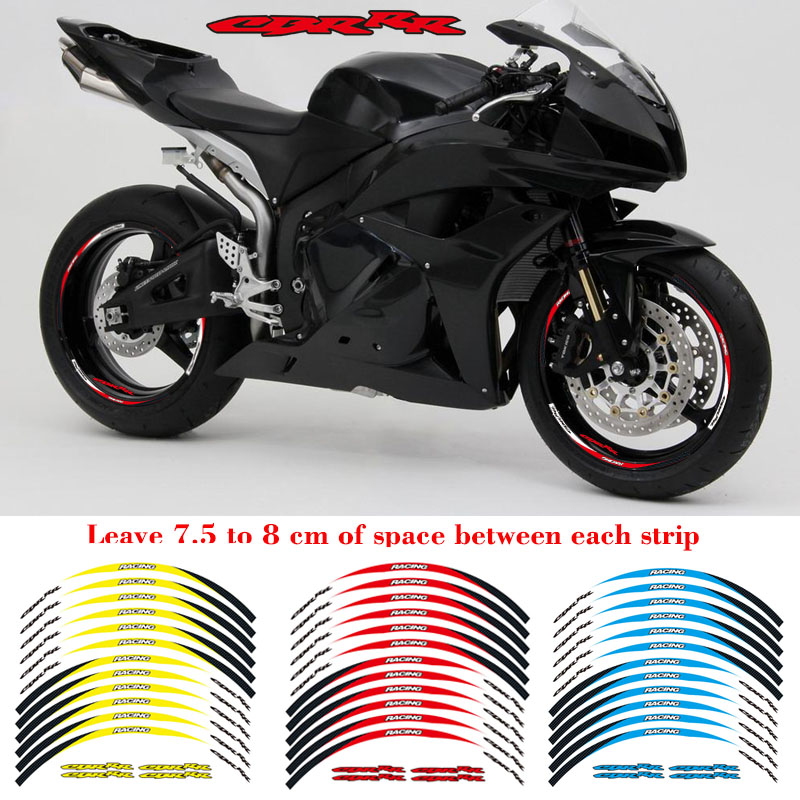 High Quality Motorcycle Front&Rear Edge Outer Rim Sticker Wheel Decals Reflective Waterproof 17inch Stickers For Honda CBR RR