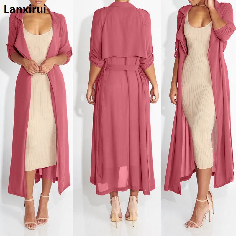 New Fashion Full Sleeve Trench Coat Balck Chiffon Duster For Women Woman Overcoat Outwear Causal Robe Long Dress Sexy
