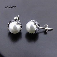 Long Baolong Jewelry 925 Sterling Silver Pearl Stud Earrings Retro Lovely Stylish Atmosphere