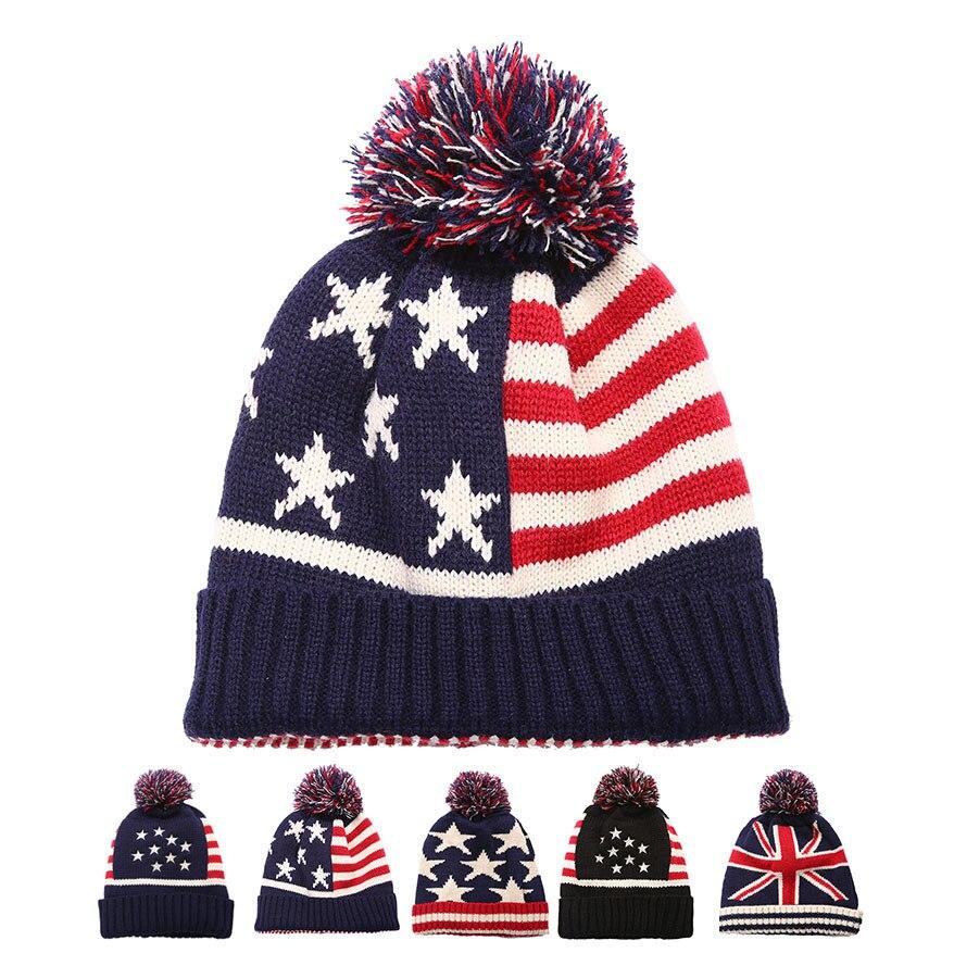 Women Men Winter Pom Poms Ball Knitted Cap Unisex Casual USA American Flag Beanies Hat British Flag Skullies Beanie Hat Gorros