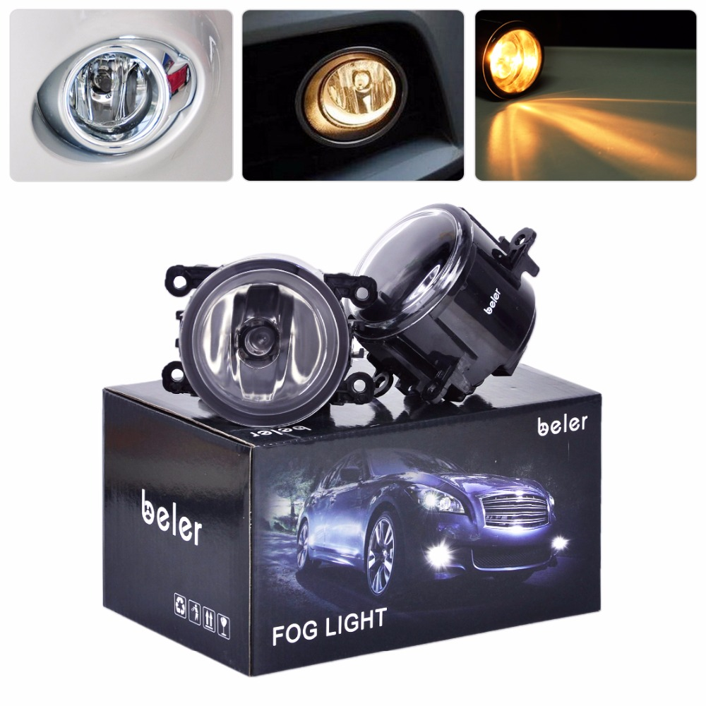 beler Car 12V Pair Left + Right Fog Lights 55W Fog Lamp H11 Bulbs 4F9Z-15200-AA 1500LM For Subaru Outback 2010 2011 2012 for subaru outback 2010 2012 h11 wiring harness sockets wire connector switch 2 fog lights drl front bumper led lamp