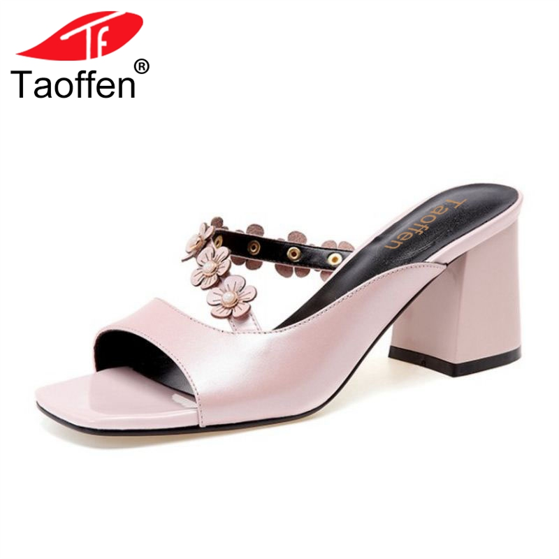 TAOFFEN Women High Heel Sandals Real Leather Flowers Open Toe Ladies Summer Shoes High Quality Slippers Footwear Size 33-39 summer women leather high heeled shoes sandals rhinestone pump sandals ladies open toe slippers plus size 33 41