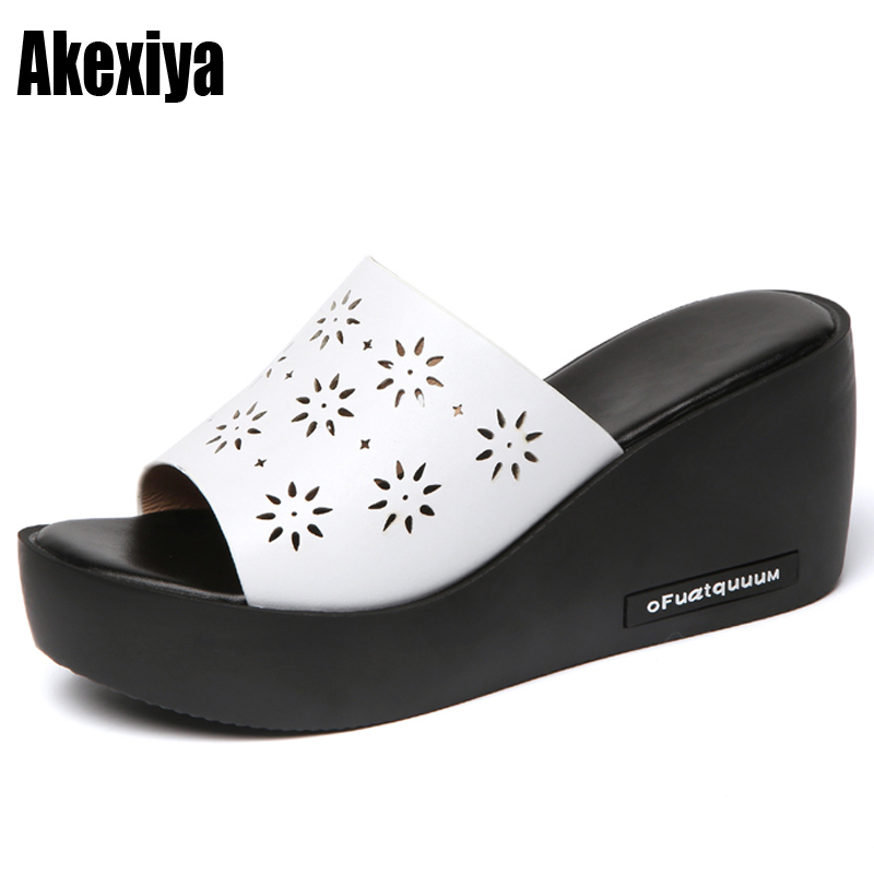 Women Sandals Summer Hollow Leather Peep Toe women Shoes Woman Flip Flops Wedges Fashion Platform Female Slides Ladies Shoes wastyx new 2017 summer fashion cowboy women sandals casual women flip flops shoes wedges shoes woman