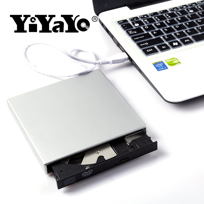 YiYaYo USB 2.0 CD RW DVD-ROM CD-ROM player External DVD Optical Drive Recorder Portatil for Laptop Computer pc Windows 7/8