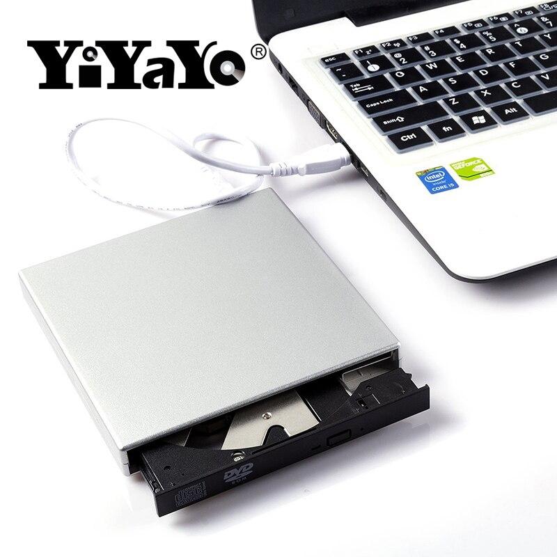 YiYaYo USB 2.0 CD RW DVD-ROM CD-ROM player External DVD Optical Drive Recorder Portatil for Laptop Computer pc Windows 7/8