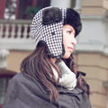 New Houndstooth Pattern Winter Trapper Hat Outdoor Thicken Ski Cap Unisex Faux Fur Earflap Russian Hat Gorras Chapeu Aviator Hat
