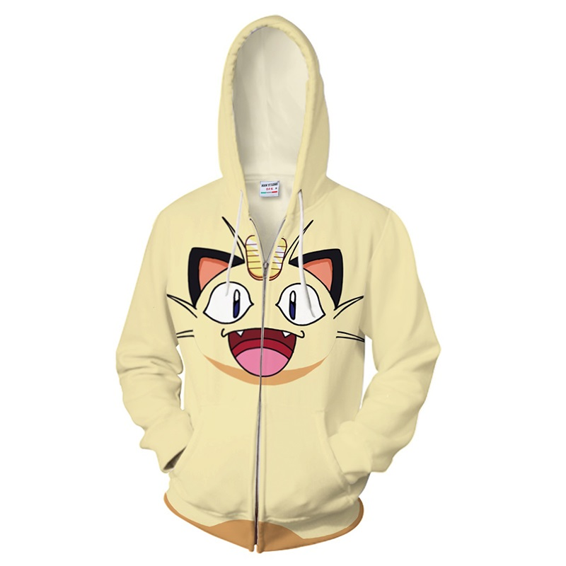 2018 new Anime 3D Hooded Sweatshirt Men Pokemon Printed Meow meow Mens Hoodies and Sweatshirts Hip Hop Style Casual Sweat Homme