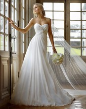 Free Shipping Cheap Simple Style A-linel Sweetheart Sleeveless Appliques Sweep Train Strapless Chiffon Wedding Dress AW428