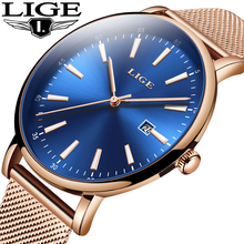 LIGE Summer dress Fashion Blue Quartz Watch Lady Leather Watch Band High Quality Casual Waterproof Wrist Watch Gift for Wife купить недорого в Москве