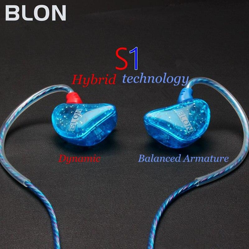BLON S1 3.5mm In Ear Earphone BA With DD BOSSHiFi S1 Balanced Armature In Ear Earphone DIY Custom Sport Earphone Earbuds
