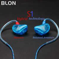 BLON S1 3,5mm en el oído auricular BA con DD BOSSHiFi S1 armadura equilibrada en el oído auricular DIY personalizado deporte auriculares