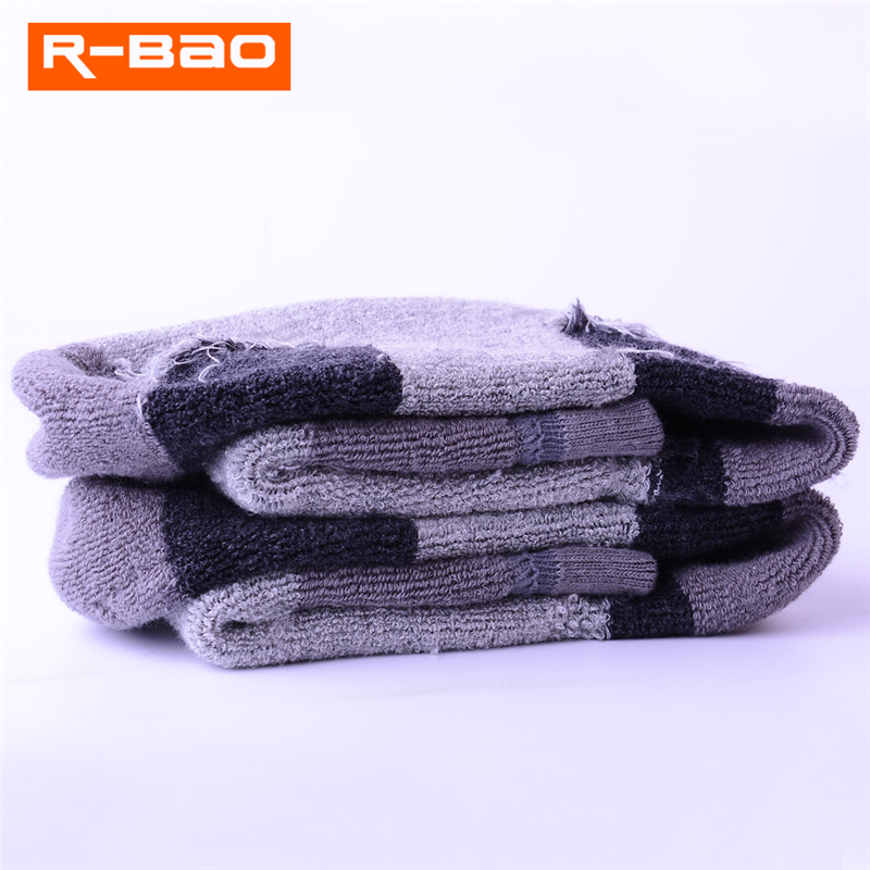 2 Pairs/Lot R-BAO Teenagers Boys Girls Skiing Socks 86% Cotton Outdoor Sports Socks Children Hiking Terry Socks Fit Sizes 30-39