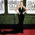 2017 ª Globo de Oro de la Lentejuela del Oro Negro Blake Lively Vestidos de La Celebridad Alfombra Roja Vestidos de Noche de La Manera Con El Bolsillo