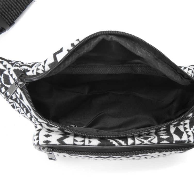 Mulheres Da Moda Cores de Tecido Bloco de Fanny Cintura Packs 6 Annmouler Saco Duplo Zíper Peito Estilo Bohemian Tribal Saco Cinto Telefone
