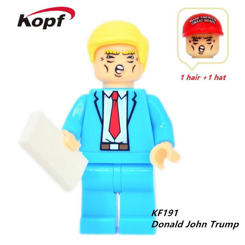 Single Sale Super Heroes Funny Donald John Trump With Two Color Hat Bricks Building Blocks Education Toys for children KF191 single sale building blocks super heroes bob ross american painter the joy of painting bricks education toys children gift kf982