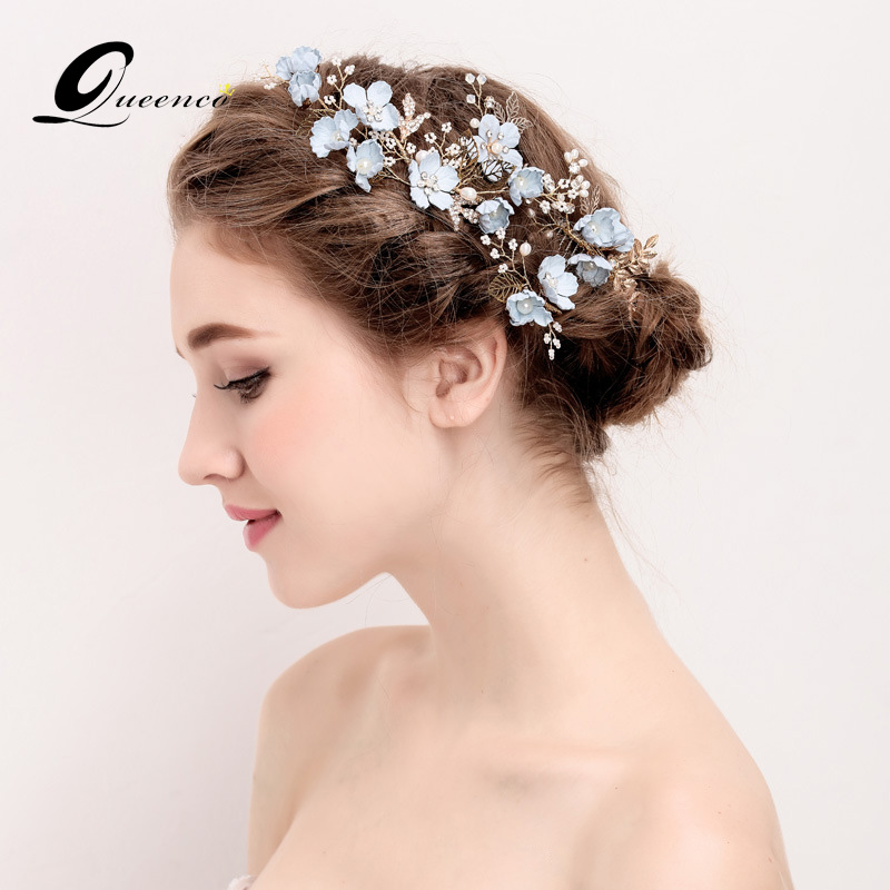 Luxury 4pcs Blue Flower Hair Combs Headdress Prom Bridal Wedding Hair Accessories Gold Leaves Hair Jewelry Pearl Hair Pins