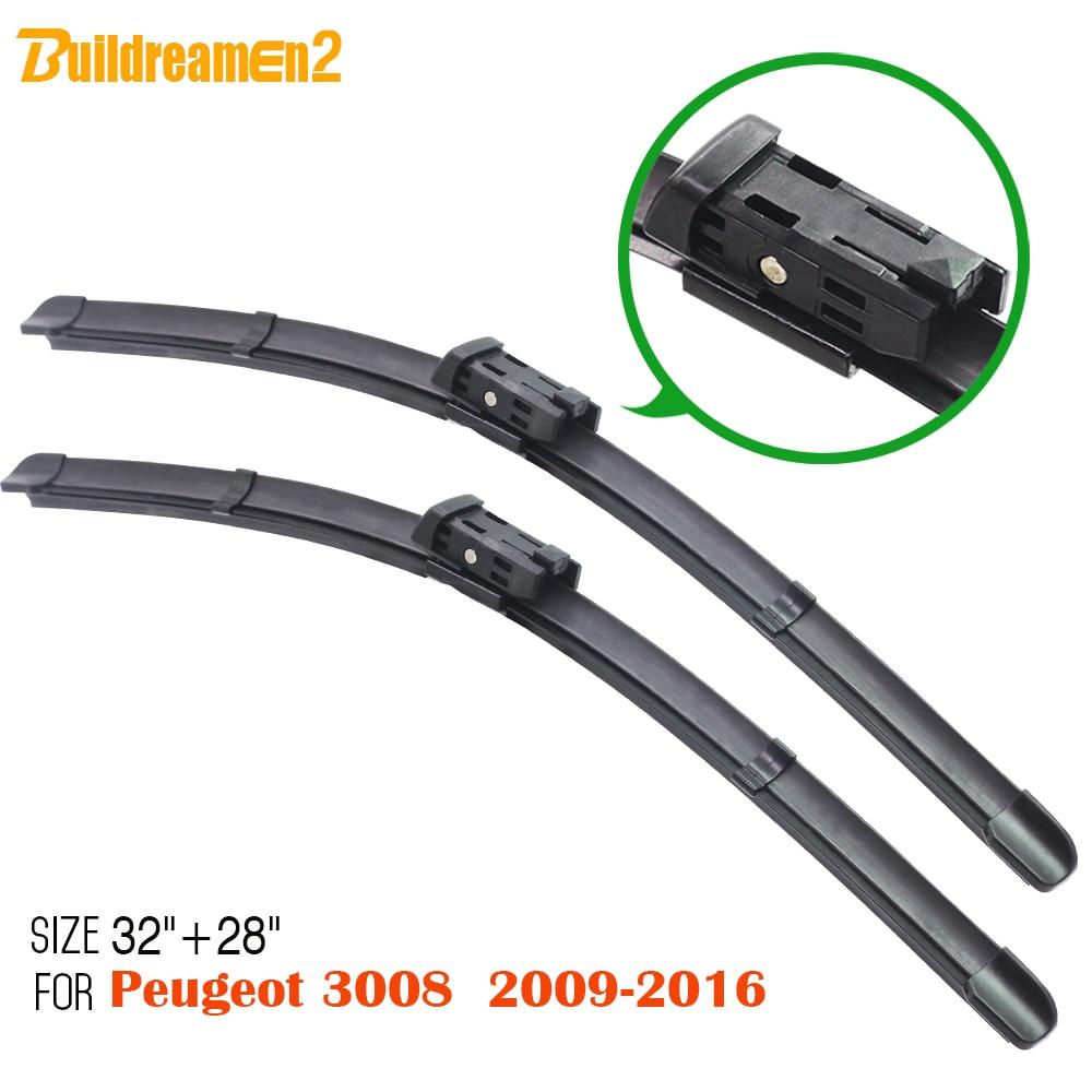 Buildreamen2 1 Paar Bracketless Weichgummi Auto Windschutzscheibe Wischerblätter Für Peugeot 3008 2009-2016 Rahmenlose Auto Wischerblatt