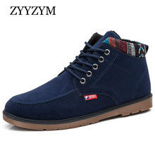 winter men boots cotton shoes hot lace-up style trend fashion man high top plush keep warm snow casual shoe