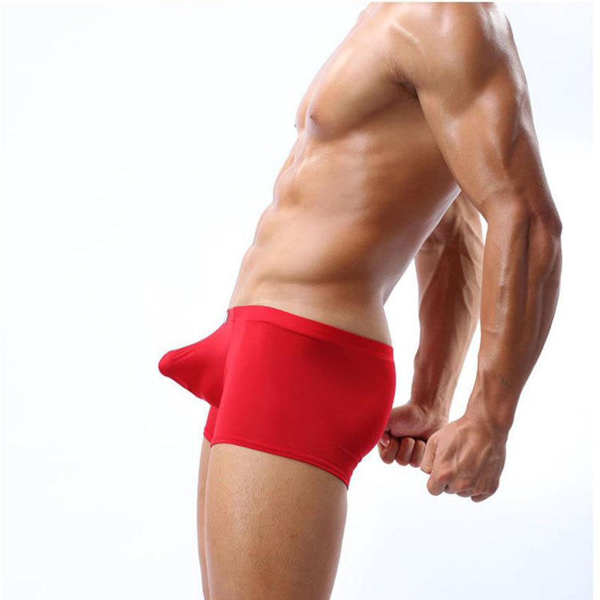 Sexy Underwear Men Ice Silk Panties Boxer Shorts Man Big -3419