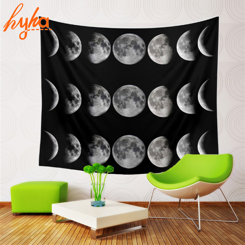 Hyha Triple Moon Goddess Tapestry Space Melkweg Dreamlike Planet - Thuis textiel