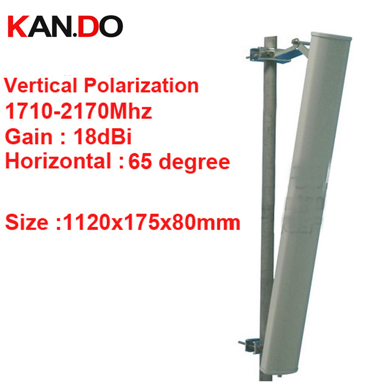 18dbi polarisation verticale 65 ° 1710-2170 Mhz antenne Panneau DCS 3G antenne de station de Base utiliser LTE FDD antenne TDD 4G LTE antenne