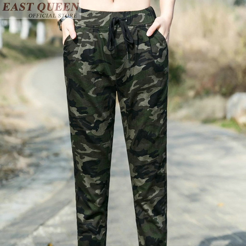 Women's skinny pants chiffon elastic mid waist patchwork casual camouflage pants pockets full length sexy trousers DD508 L
