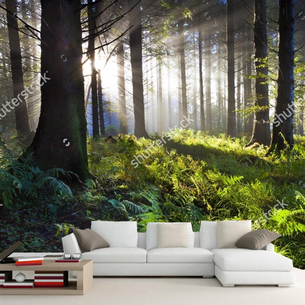 custom natural scenery wallpaper union wood sunrise 3d. Black Bedroom Furniture Sets. Home Design Ideas