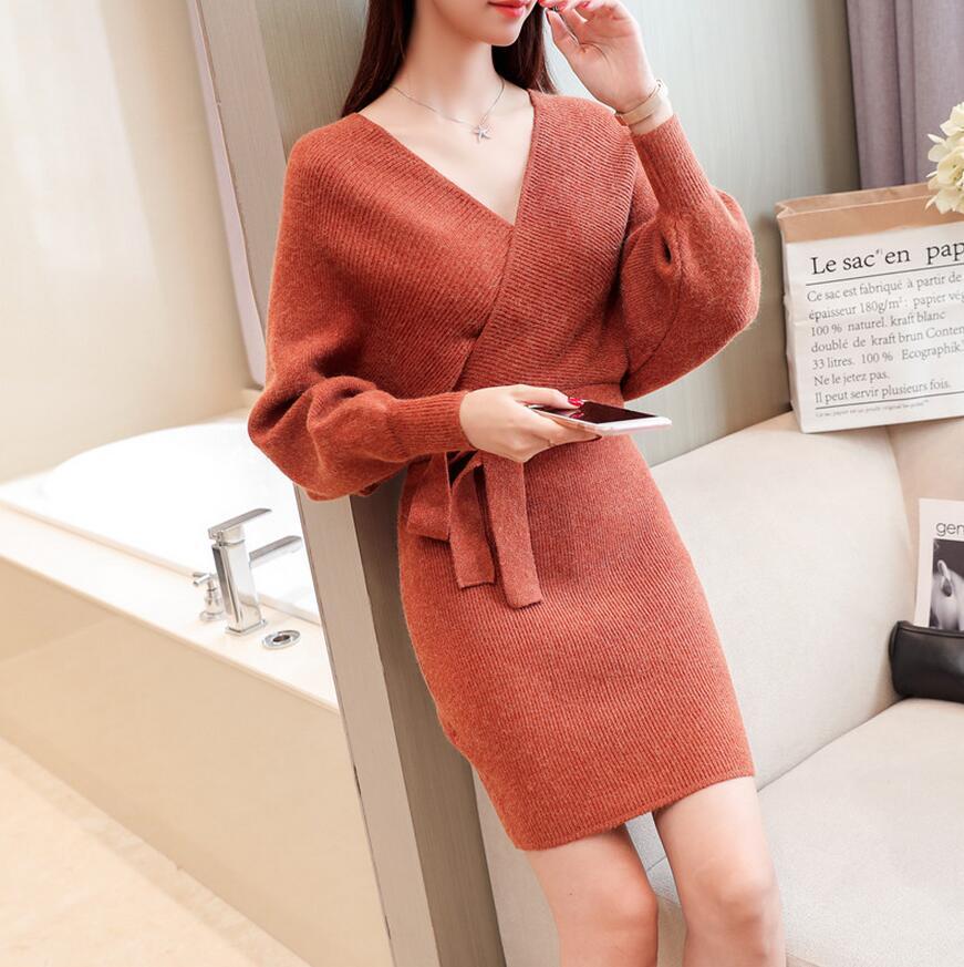 New Autumn Winter sweater Dress Womens sexy V-Neck Batwing Sleeve Slim Hip Dress vestidos with belt s1086