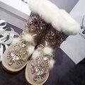 Aidocrystal 2016 nuevas mujeres del diseño de botas de alta calidad de Diamante zapatos bootie sexy girls mujeres nieve envío gratis