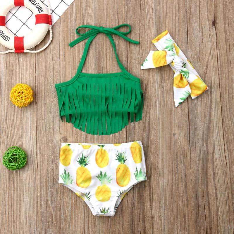 3PCS Newborn Baby Girls Tassels Top Shorts Swimwear Pineapple Swimsuit Bathing Beachwear Biquini Set  2019 New In Fashion