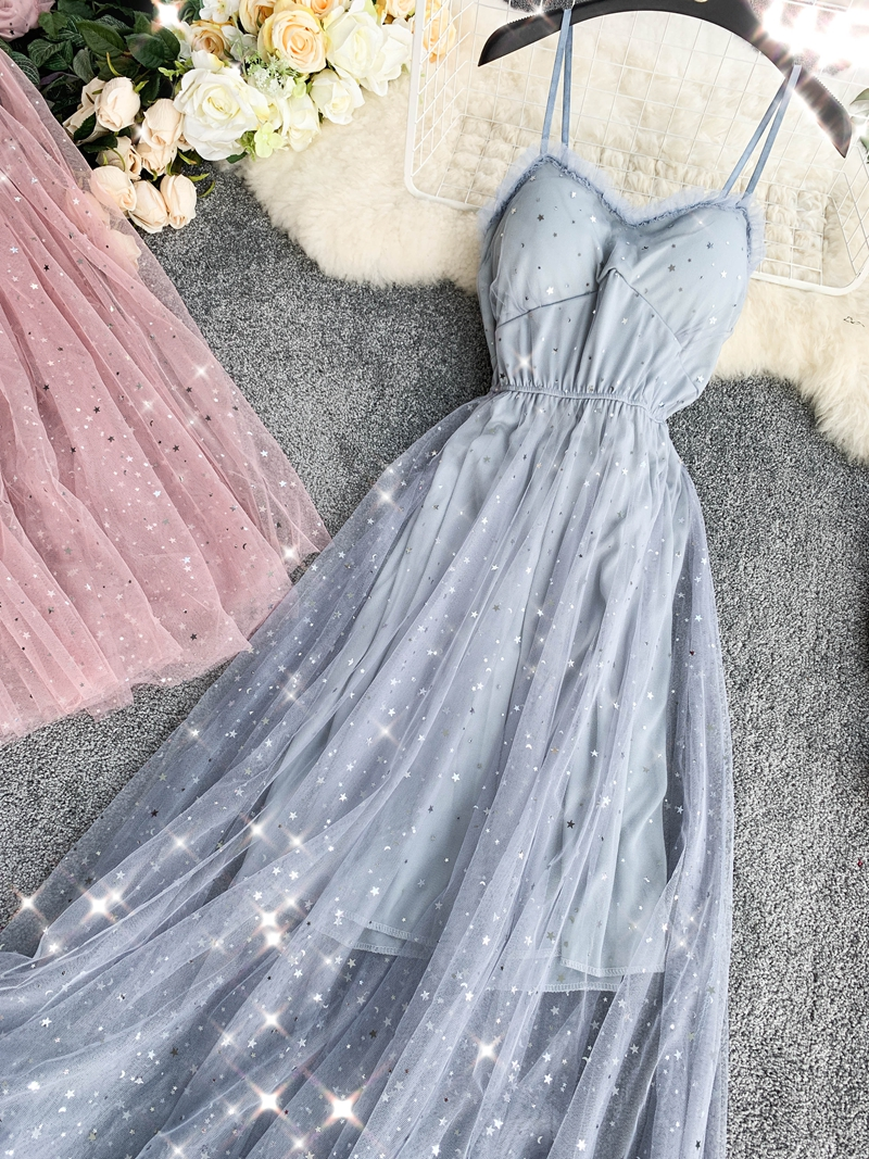 Sequins V-Neck Gauze Ruffles Mesh A-Line Dress 22
