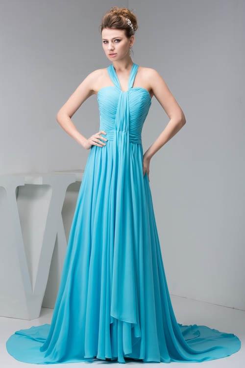 2018 Sexy Halter Sleeveless Bridesmaid Dress Bright Blue Bodycon