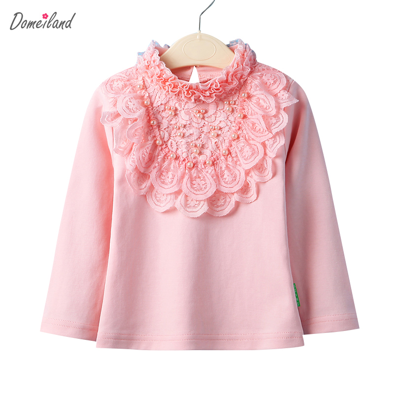 2017 Spring Fashion brand Baby Girls Clothing Cute Lace Long Floral Sleeve white collar Ruffle shirts
