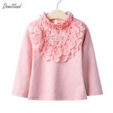 2017 Printemps marque De Mode Bébé Filles Vêtements Mignon Dentelle Long Floral Manches col blanc À Volants chemises coton Blouse Tops vêtements