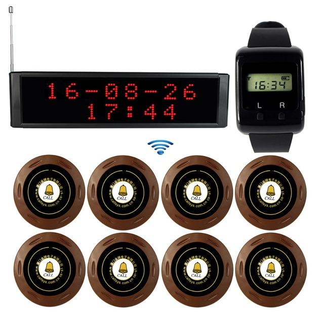 433 MHz Wireless Que Llama el Sistema de Paginación Restaurante Pager Receptor de Radiodifusión Anfitrión + Reloj Receptor Botón de Llamada De Buscapersonas F3271