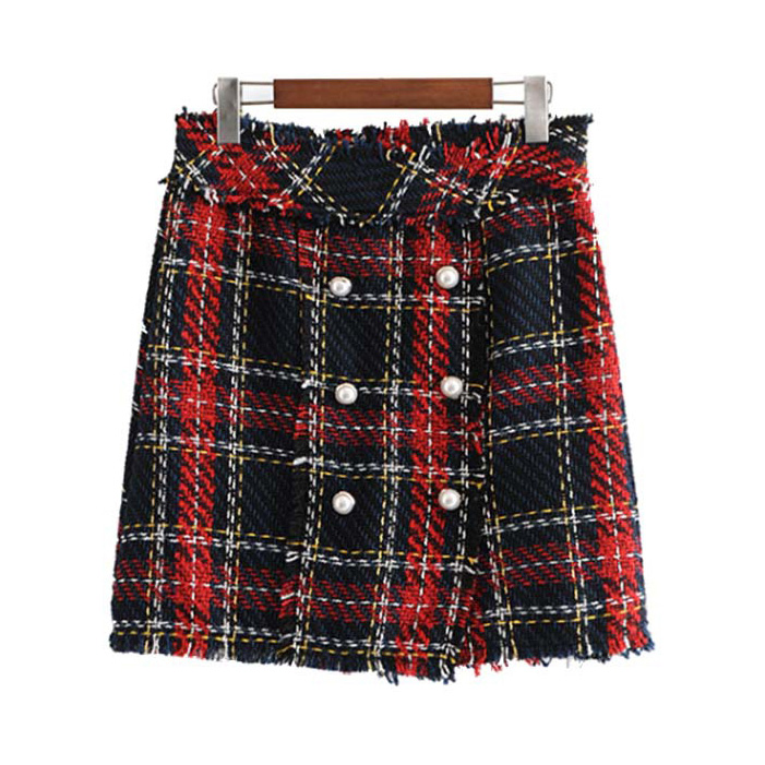 Vintage Plaid Tweed Mini Skirt Fringe Tassel Buttons Faldas Mujer Female Casual Chic A Line Skirts Plus Size