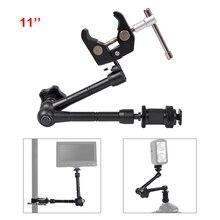 11 인치 조정 가능한 매직 관절 암 hdmi 모니터 장착 용 슈퍼 클램프 led 라이트 lcd 비디오 카메라 플래시 카메라 dslr