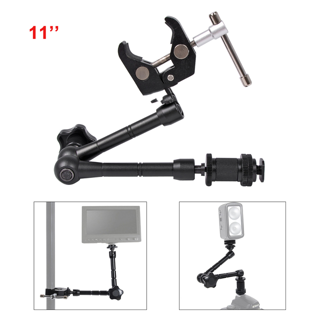 11 inch Adjustable Magic Articulated Arm Super Clamp for Mounting HDMI Monitor LED Light LCD Video Camera Flash Camera DSLR