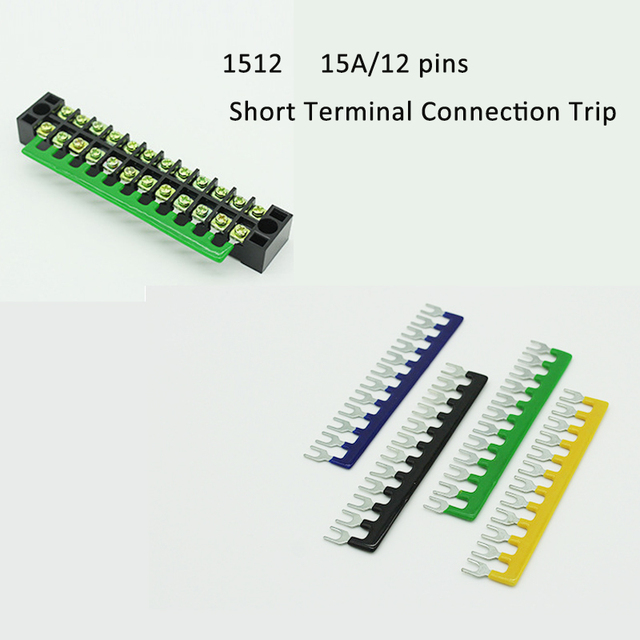 US $3 15 10% OFF TB 1512 Terminal block connector 15A 12pins TB connection  strip Terminal block Short piece Terminal link TB short connector-in