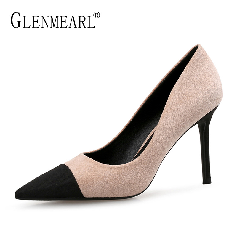 Sexy Women Shoes High Heels Spring Brand Woman Pumps Thin Heels Dress Shoes Female Black Single Pointed Toe Party Shoes Size 45 black lace flowers high heels pointed toe sexy pumps thin heel slip on elegant women single shoes female party dress shoes